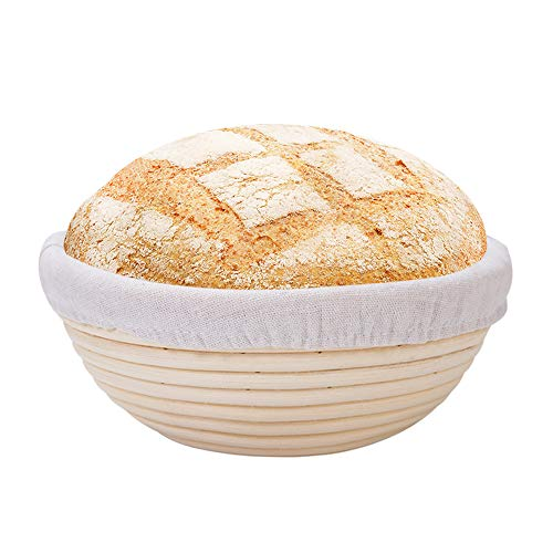 9' Bread Banneton Proofing Basket with Cotton Cloth Liner, Baking Dough Rising Brotform - Handmade Natural Rattan Round Bowl, Sourdough Bread Proving Jar Box for Professional & Home Bakers