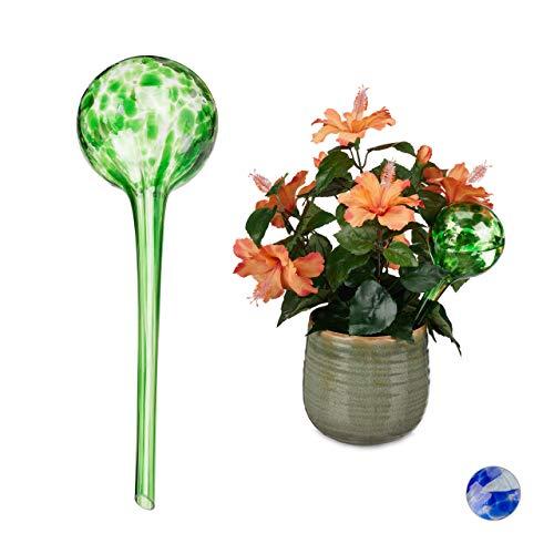 Relaxdays Globes d'arrosage Lot de 2, Distributeur Eau Plantes et Fleurs, Outil de Bureau, Ø 9 cm, Verre, coloré