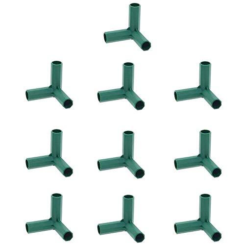 10 Stück Steckverbinder Rohrverbinder Verbindungsstücke, PVC Eckverbinder, für Gewächshäuser Rahmen Regale (3 Wege - 11mm)