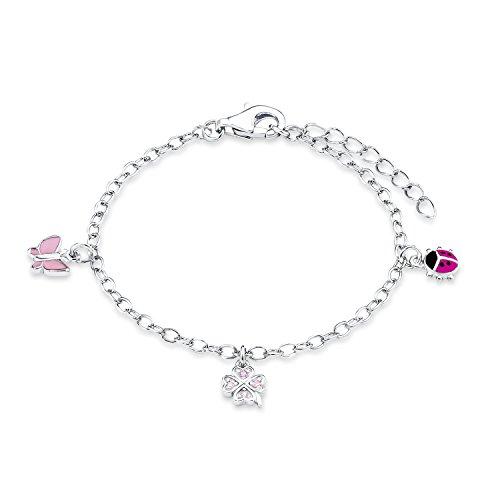 Prinzessin Lillifee Kinder-Armband Marienkäfer und Schmetterling 925 Silber rhodiniert Emaille Zirkonia rosa 14 cm - 523035 9082414, Einheitsgröße