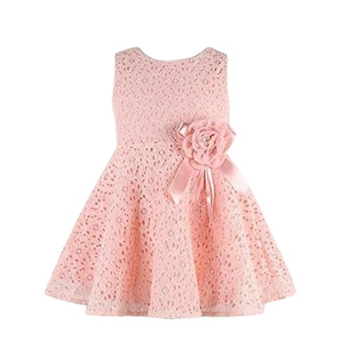Lisin 1PC Girls Kids Full Lace Floral Princess Party Dress Sleeveless Child O-Neck One Piece Dress (Pink, 4-6Years)