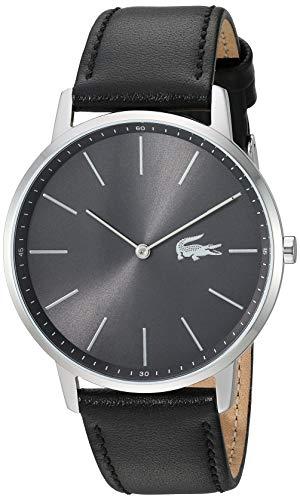 Lacoste 2011016 - Reloj de cuarzo para hombre, acero inoxidable, correa de piel, color negro, 19,5