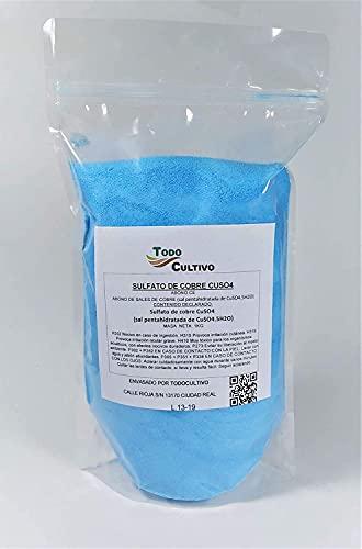 Sulfato de Cobre cúprico Puro 1 Kg. CuSO4. para preparación de Caldo bordeles. Fungicida Utilizado para eliminación de Hongos, Limpieza de Algas en Piscinas y experimentos Escolares.