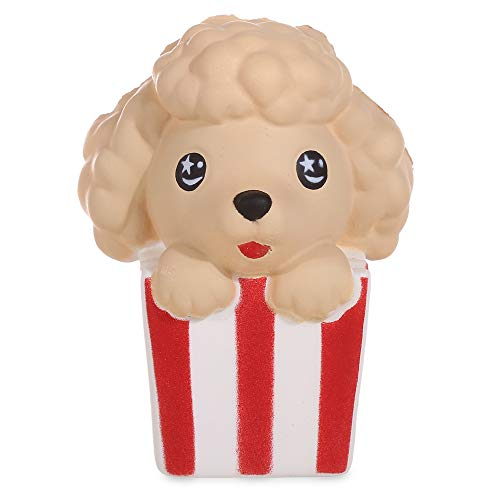 Anboor 4.3 Inches Squishies Dog Popcorn Kawaii Slow Rising Scented Squishies Stress Relief Kid Toys Decorative Props