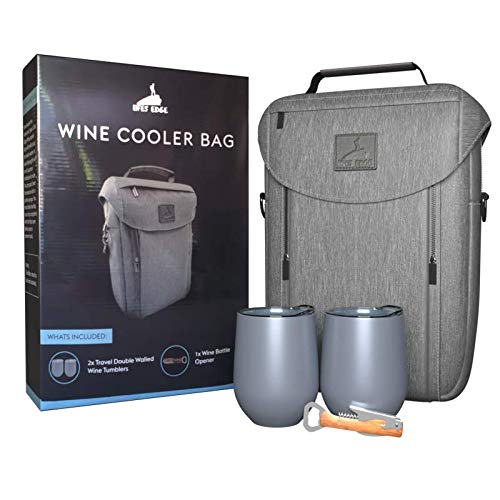 Wine Bottle Cooler Bag with 2 Wine Tumblers and Opener, Insulated Chiller Carrier Padded Bag for Liquor Wine Champagne, 2 Wine Bottles Holder Tote for Travel Picnic Party, Gifts for Wine Lovers