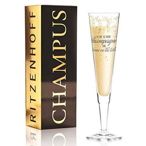 RITZENHOFF Champus Champagnerglas von Natalia Yablunovska, aus Kristallglas, 200 ml, mit edlen Gold- und Platinanteilen, inkl. Stoffserviette