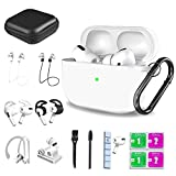 Airpods Pro Case, 14 in 1 Silicone Airpod Pro Accessories Kit Set, Apple Airpods 3 Charging Case Cover with Ear Tips/ Ear Hook/Watch Band Holder/Strap/Carrying Box/Brush/Cleaning Putty Set (White)