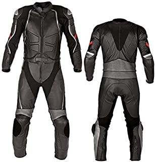 Motorcycle New Black Two piece Leather Track Racing Suit CE Approved Protection (X-LARGE)