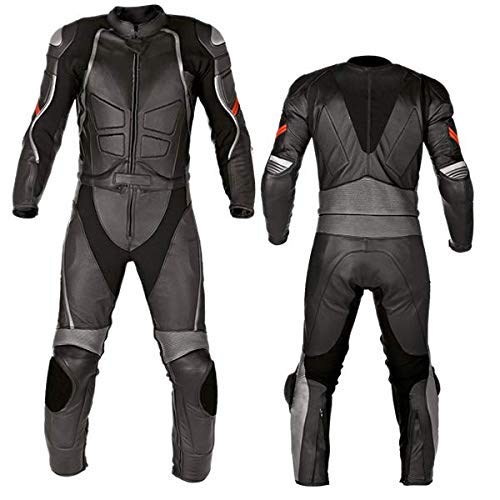 Motorcycle New Black Two piece Leather Track Racing Suit CE Approved Protection (4XL)