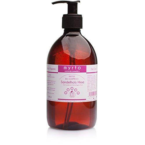 myrto – Bio Shampoo Sandelholz Hirse gegen Haarausfall | mit Hirse Wirkstoff Miliacin - ohne Alkohol - vegan - für beschleunigtes Haarwachstum und volles Haar - 100ml