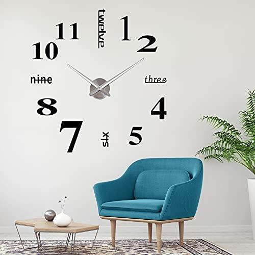 Orologio da Parete Silenzioso Preciso Fai da Te, Orologio Parete Moderno Decorazione - Grande 3D Adesivo Orologio Parete Decorazione - 2Anni di Garanzia