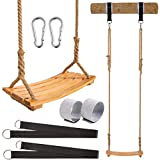 """Yangbaga Wooden Swing Hanging Tree Swings, WoodSwings Seat 19.7""""9.8""""0.78""""to Adult Kids Children with Adjustable Hemp Rope Plus Tree Straps inch and 2 Carabiner Hooks-for Park or Home for Kids"""