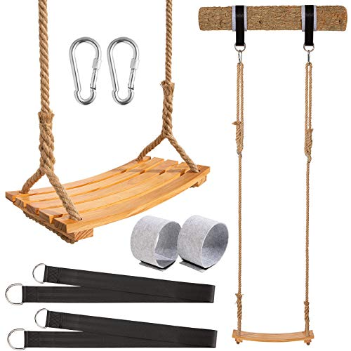 """Wooden Swing Yangbaga Hanging Tree Swings, WoodSwings Seat 19.7""""9.8""""0.78""""to Adult Kids Children with Adjustable Hemp Rope Plus Tree Straps inch and 2 Carabiner Hooks-for Park or Home for Kids"""