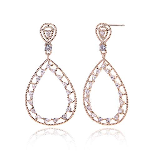 Open Teardrop Earrings for Women - Gold Bridal Pear Shaped Hollow Crystal CZ Zircon Cubic Zirconia Rhinestone Sterling Silver Drop Earring for Wedding Party Prom Fashion Jewelry for Bride Bridesmaids
