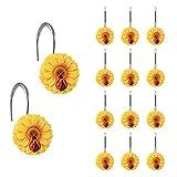 Grace life 12 x Sonnenblumen-Duschvorhang-Haken, dekorativ, für Zuhause, Badezimmer, rostfrei, Duschvorhangstange, Pothook (Marienkäfer-Haken)