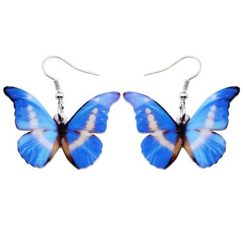 AdronQ® Motif Acrylique Drop Dangle Big Morpho Helena Boucles d'oreilles Papillon pour Les Femmes Nouveaux Accessoires de Mode Bijoux Insectes