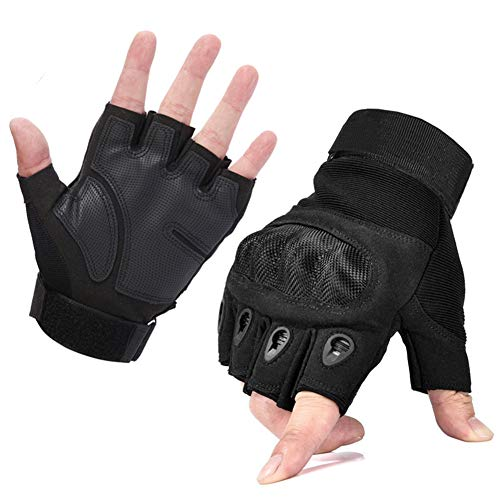 MEIZI Fahrradhandschuhe Fingerlose, Taktische Handschuhe, Kampfhandschuhe Herren Militär Armee Handschuhe, Fahrradhandschuhe Kurz Radhandschuhe Tactical Handschuhe (M, Schwarz)