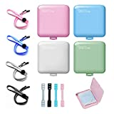4 PCS Durable Portable Mask Storage Case Plastic Face Cover Mask Holder Reusable Face Covering Storage Mask Box Organizer and 4 PCS Face Covering Giving Mask Adjustable Extender Strap and Lanyard