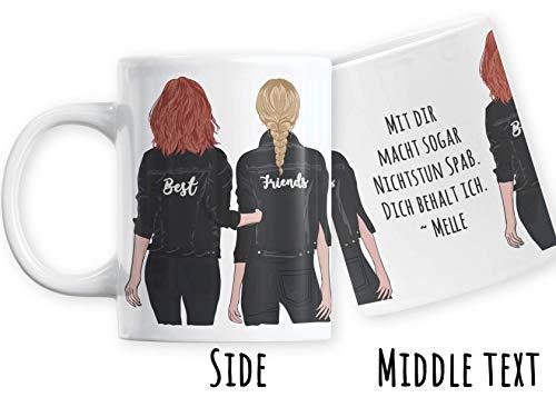 Jimbeels® BFF Personalisierbare Kaffeetasse | Beste Freundinnen Tasse anpassbar | Wunschname Kaffeebecher für Mädchen & Frauen | Individuelles Best Friends Geschenk