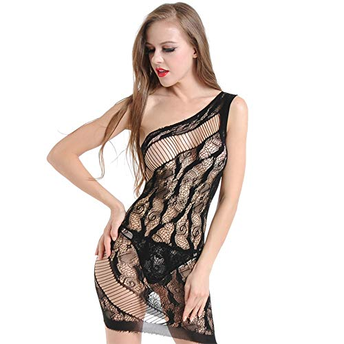 QPLNTCQ Erotic Fun Backless Strapsrock One Shoulder Hollow Jacquard Versuchung (Color : Schwarz, Size : One Size)