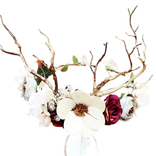 Lurrose Blume Stirnband Hirschgeweih Kranz Blume Krone Stirnband für Brautmädchen Frauen Hochzeit Geburtstag Party Haarschmuck Requisiten