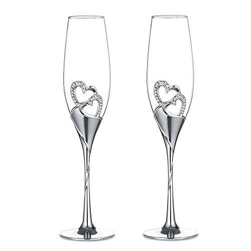 1-Paar (2-teilige) High-End Champagner Trinkglas, Weingläser für Hochzeit / Party, kreative Weingläser, Geschenk für Hochzeitsjubiläum, Silber (Silber, Stile 1)