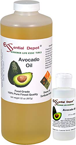 Avocado Oil Plus Free 2 oz Empty Container - 1 Quart - 32 oz - Safety Sealed HDPE Container with resealable Cap - 100% Pure and Natural for Hair, Skin, Massage and Cooking