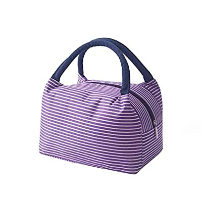 Insulated Cooler Lunch Bag Tote Handbag Zipper Picnic Bag Waterproof Food Container Bento Pouch with Aluminum foil (Purple) from Diadia Home & Garden