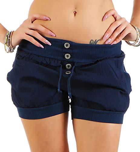 Malito Damen Hotpants in Unifarben | lockere Kurze Hose | Bermuda für den Strand | Pants - Shorts - klassisch 6086 (dunkelblau, L)
