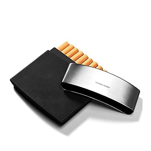 Estuche para cigarrillos con humidificador de cigarros, Estuche para cigarrillos ultradelgado de acero inoxidable liviano, Estuche para cigarrillos con capacidad para 10 cigarrillos de tamaño regular,