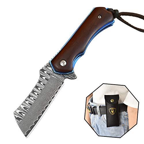 AUBEY Taschenmesser Holzgriff Survival Messer Klappmesser Outdoor Messer Holz Pocket Knife, ideal für Freizeit, Arbeit, Wandern, Camping (Damastmesser Holzgriff)