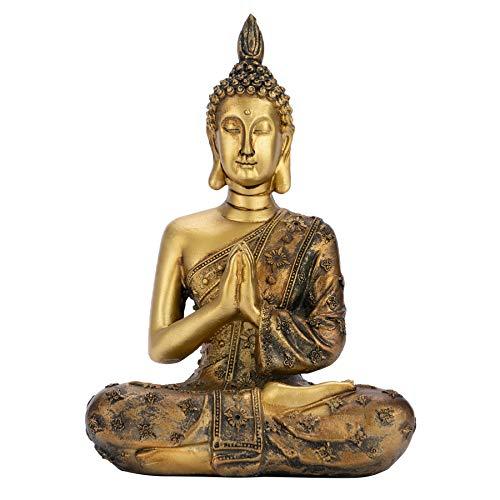 Meditating Buddha Statue, Sitting Buddha Statue, Buddha Statue Decoration, Golden Meditation Praying Buddha Statue, Thai Buddha Meditating Statue, Handmade Figurine Home Desktop Office Decor