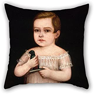 Artistdecor Oil Painting Unidentified Puerto Rican Artist - Nino Con Cotorra De Juguete Pillowcover ,best For Him,bedding,living Room,birthday,car Seat,home 20 X 20 Inches / 50 By 50 Cm(both Sides)
