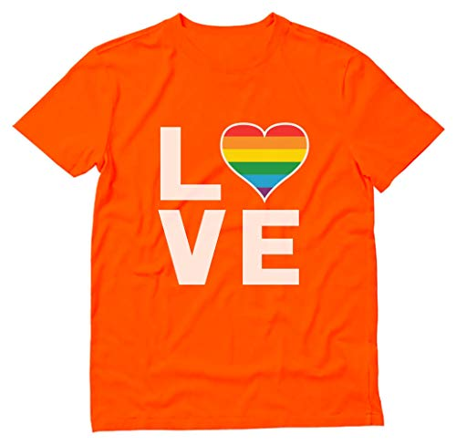 Gay Love Rainbow Heart LGBT Gay Pride Awareness T-Shirt X-Large Orange