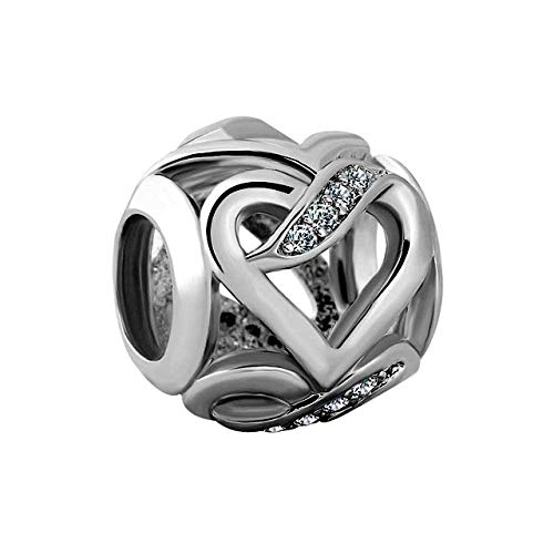 Desconocido JCaleydo – Hearts Cubic Zirconia 925 Sterling Silver with Gift Box – Compatible with Pandora Bracelet