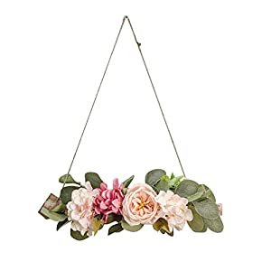 Unionm Artificial Flower Hanging Decoration Spring Summer Faux Flower Wall Pendant Wreath for Home Ornament Photographing Wedding Decor Valentine Mother's Day (5#Pink)