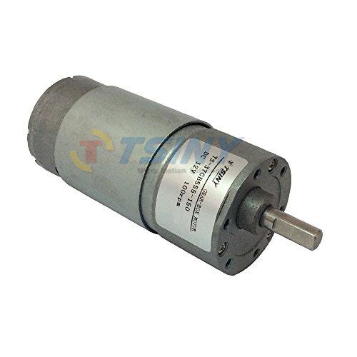 TSINY Small 12V DC 100 RPM Spur High Torque Gear Box Electric Motor