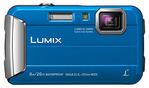 Panasonic LUMIX DMC-FT30EG-A Outdoor Kamera (16,1 Megapixel, 4X Opt. Zoom, 2,6 Zoll LCD-Display, 220 MB interne Speicher, wasserdicht bis 8 m, USB, blau) & #33# Kameratasche Sony DSC WX350, DSC HX5
