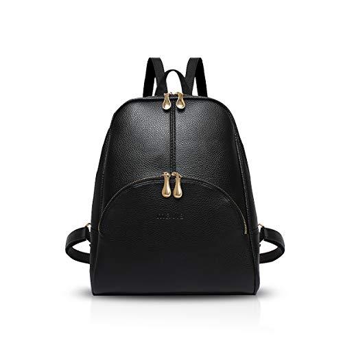 NICOLE & DORIS Damen Rucksack Casual Rucksack für Damen Wasserdichte Handtasche für Frauen Rucksäcke Kunstleder Schwarz