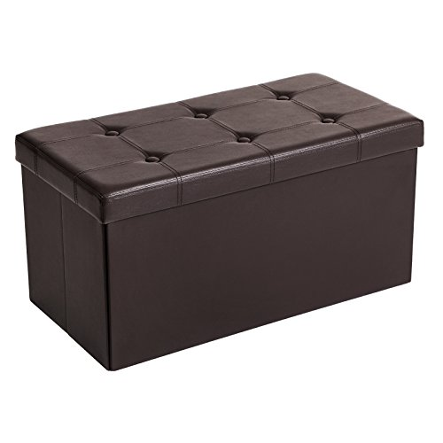 SONGMICS 30 Inches Faux Leather Folding Storage Ottoman Bench, Storage Chest Footrest Coffee Table Padded Seat, Brown
