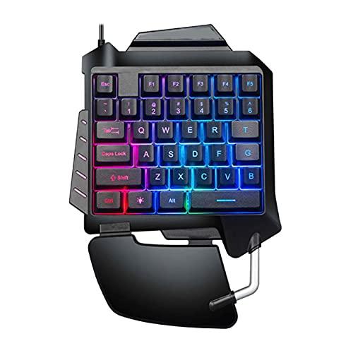 ANLV Teclado para juegos con cable, teclado ergonómico de una sola mano retroiluminado para juegos, teclado con cable USB para PC, ordenador
