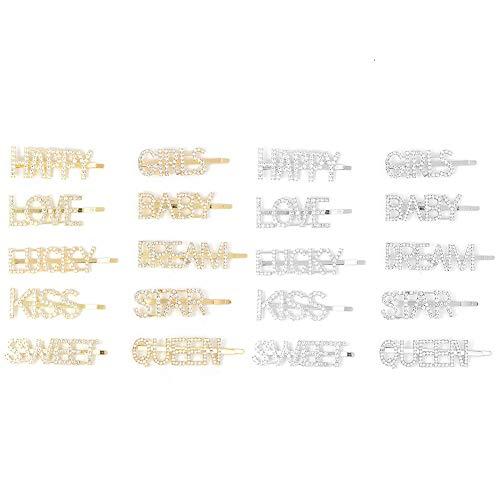 20 pasadores de pelo con letras de palabras, brillantes y brillantes para el pelo, de aleación de metal para mujeres, señoras y niñas (20 estilos)