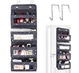 Anstore Over Door Storage Organiser, 4 Pockets Door Hanging Storage, Wall Hanging Storage Organiser with Transparent Window for Toys, Magazine, Purses, Keys, Sunglasses, Hat (Gray)