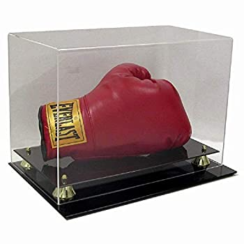 Deluxe Acrylic Horizontal Boxing Glove Display Case w/ Gold Risers