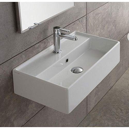 Scarabeo 5001-One Hole Teorema Rectangular Ceramic Wall Mounted/Vessel Sink