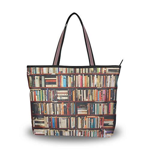 Jessgirl Canvas Handtasche Große Netto-Einkaufstasche mit Taschen für Frauen Süße Tasche Langlebiges buntes Wissens-Bücherregal M.