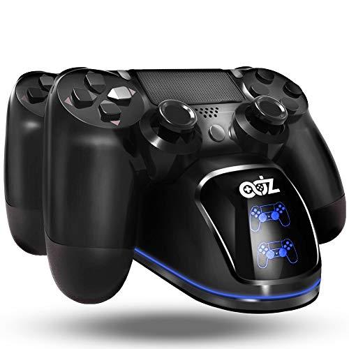 ADZ PS4 Controller Ladestation, Ladestation mit USB-Ladekabel mit blauem LED Halo Ring Dual PS4 Controller Ladestation Ständer für PS4 / PS4 Slim / PS4 Pro Dualshock 4 Controller
