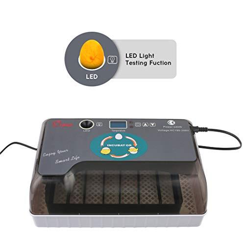 Incubadora Automática de 12 Huevos con Pantalla Digital Inversión Automática y Control Eficiente e Inteligente de Temperatura y Humedad Luz LED