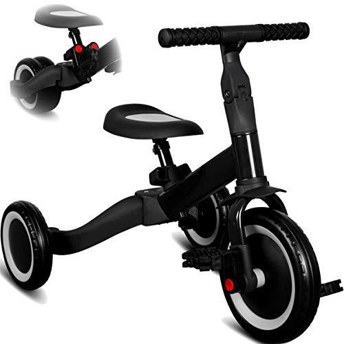 Stimo 3IN1 umbaubares Laufrad Dreirad mit oder ohne Pedale Fahrrad für Kinder ab 12 Monaten (mitwachsend) (Schwarz)