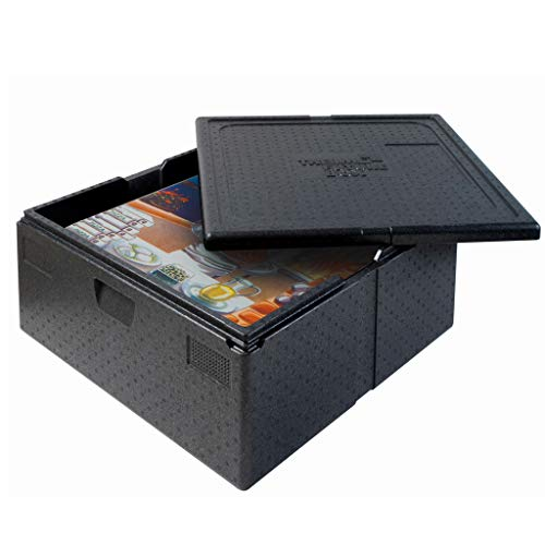 Thermo Future Box®Quadratische Thermobx Kühlbox,Transportbox Warmhaltebox und Isolierbox mit Deckel,92 Liter Pizzabox,Thermobox aus EPP (expandiertes Polypropylen)